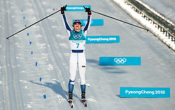 February 25, 2018 - Pyeongchang, South Korea - Krista Parmakoski of Finland celebrates winning a silver medal in the Ladies Cross Country Skiing Mass Start 30k at the PyeongChang 2018 Winter Olympic Games at Alpensia Cross-Country Skiing Centre on Sunday February 25, 2018. (Credit Image: © Paul Kitagaki Jr. via ZUMA Wire)