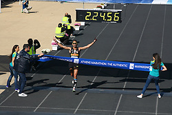 November 13, 2016 - Athens, Greece - The first Greek runner to finish the marathon Christoforos Merousis.50.000 long range runners take part in the 42 killometers long Athens Marathon the Authentic in Greece starting from the City of Marathona and ending at Kalimarmaro Stadium in Athens. (Credit Image: © George Panagakis/Pacific Press via ZUMA Wire)
