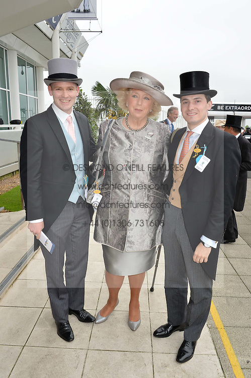 Left to right, LESTER LLOYD, KIRSTEN RAUSING and EDWARD FITZGERALD at the Investec Derby at Epsom Racecourse, Epsom, Surrey on 4th June 2016.