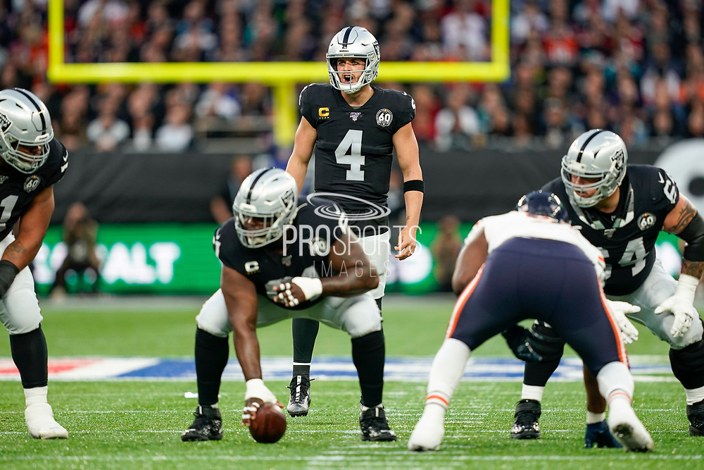 Derek Carr (QB) of the Oakland Raiders in action during the International Series match between Oakland Raiders and Chicago Bears at Tottenham Hotspur Stadium, London, United Kingdom on 6 October 2019.