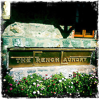 25 February 2012: The French Laundry sign in Yountville, California.  iPhone Stock Photo