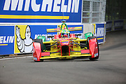 ABT Schaeffler Audi Sport driver, Lucas Di Grassi with one wheel off the ground during Round 9 of Formula E, Battersea Park, London, United Kingdom on 2 July 2016. Photo by Matthew Redman.