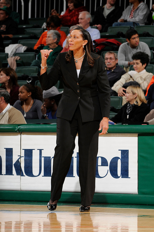 December 7, 2010: Head coach Terri Williams-Flournoy of the Georgetown Hoyas in action during the NCAA basketball game between Georgetown and the Miami Hurricanes. The 'Canes defeated the Hoyas 81-72.