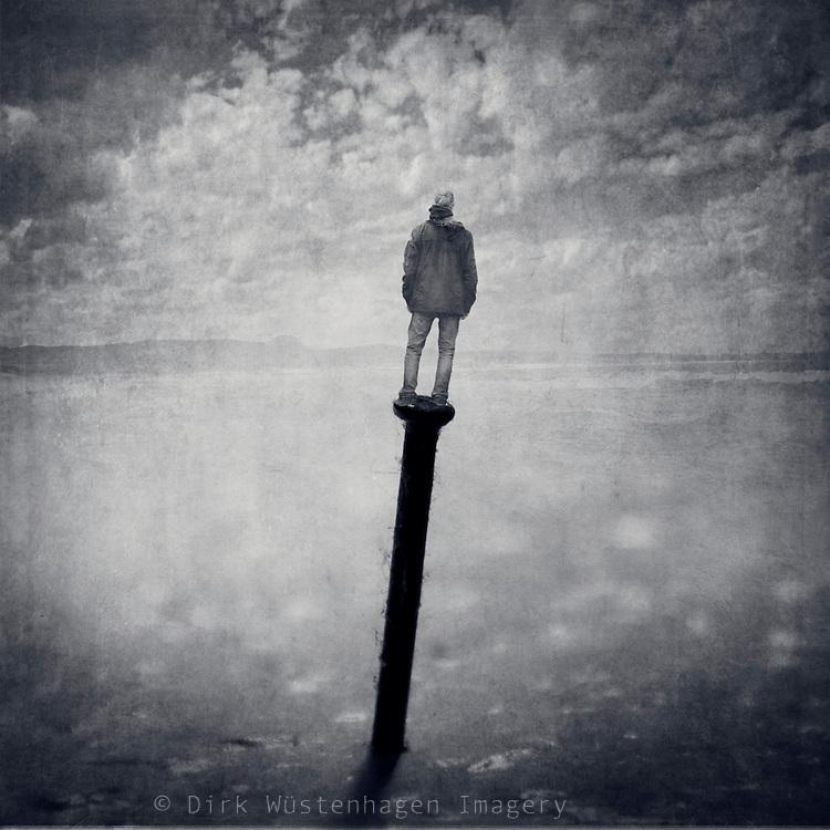 man standing on a nail<br /> Composing<br /> Prints: http://society6.com/DirkWuestenhagenImagery/un-certain-ty-principle_Print