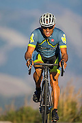 August 25, 2015 - Wilson, WY: Dave Miller during an evening training ride on Teton Pass.