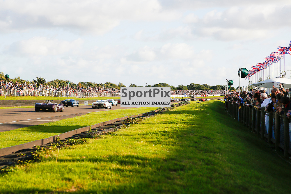 The first bend of the Whitsun Trophy at the Goodwood Revival 2015, Goodwood Revival 12th September, Day 2. Chichester, West Sussex. (c) SAM TODD | SportPix.org.uk