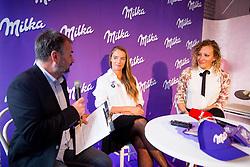 Ales Smrekar, Tina Maze and Ilka Stuhec during Milka press conference, on October 3, 2017 in Lolita Cake Shop, Ljubljana, Slovenia. Photo by Vid Ponikvar / Sportida