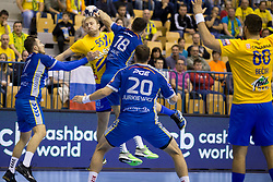 Ziga Mlakar of RK Celje Pivovarna Lasko AND Blaz Janc of PGE Vive Kielce during handball match between RK Celje Pivovarna Lasko and PGE Vive Kielce in Group Phase A+B of VELUX EHF Champions League, on September 30, 2017 in Arena Zlatorog, Celje, Slovenia. Photo by Urban Urbanc / Sportida