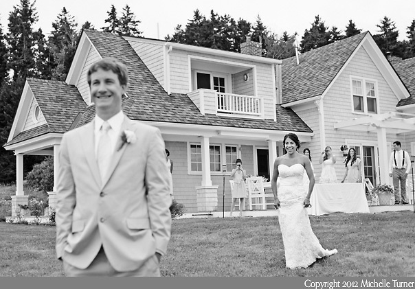 The first look from Jenna and Tucker's coastal Maine wedding. Photography by Maine Wedding Photographer Michelle Turner.