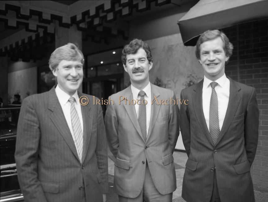 Tanaiste Dick Spring T.D..Speaks at Midsnell Meeting..1984..15.06.1984..06.15.1984..15th June 1984..Tanaiste Dick Spring T.D. spoke today at the European Area Meeting of Midsnell (International Assoc Of Independent Accountancy Firms).The meeting ,held in The Berkeley Court Hotel,Dublin was hosted by Copsey Murray and Co. Chartered Accountants..Photograph shows (L-R) Mr Roger Copsey,Partner,Copsey Murray and Co.,Tanaiste and Minister for Energy, Mr Dick Spring T.D. and Mr Gerry Murray,Partner,Copsey Murray and Co.