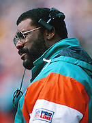 Miami Dolphins defensive line coach Joe Greene looks on from the sideline during the 1994 NFL regular season football game against the Buffalo Bills on Oct. 9, 1994 in Orchard Park, N.Y. The Bills won the game 21-11. (©Paul Anthony Spinelli)