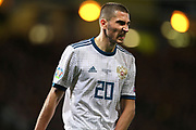 Aleksey Ionov of Russia (20) (Rostov) during the UEFA European 2020 Qualifier match between Scotland and Russia at Hampden Park, Glasgow, United Kingdom on 6 September 2019.