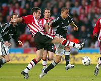 Photo: Scott Heavey, Digiatlsport<br /> NORWAY ONLY<br /> <br /> Southampton v Newcastle united. FA Barclaycard Premiership. 12/05/2004.<br /> Kieron Dyer skips past Paul Telfer