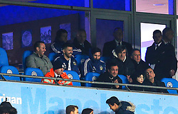 Sergio Aguero and Lionel Messi of Argentina watch the match from a private box  - Mandatory by-line: Matt McNulty/JMP - 23/03/2018 - FOOTBALL - Etihad Stadium - Manchester, England - Argentina v Italy - International Friendly