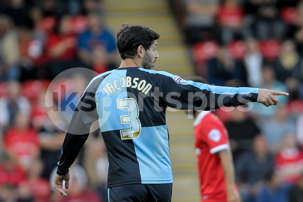 Joe Jacobson of Wycombe Wanderers  during the Sky Bet League 2 match between Leyton Orient and Wycombe Wanderers at the Matchroom Stadium, London, England on 19 September 2015. Photo by Salvio Calabrese.
