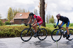 Margarita Lopez (Bizkaia Durango) leads the early break of the day at Dwars door de Westhoek 2016. A 127km road race starting and finishing in Boezinge, Belgium on 24th April 2016.