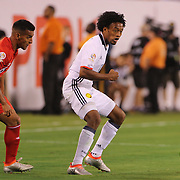 EAST RUTHERFORD, NEW JERSEY - JUNE 17:  Juan Cuadrado #11 of Colombia goes past Miguel Trauco #6 of Peru during the Colombia Vs Peru Quarterfinal match of the Copa America Centenario USA 2016 Tournament at MetLife Stadium on June 17, 2016 in East Rutherford, New Jersey. (Photo by Tim Clayton/Corbis via Getty Images)