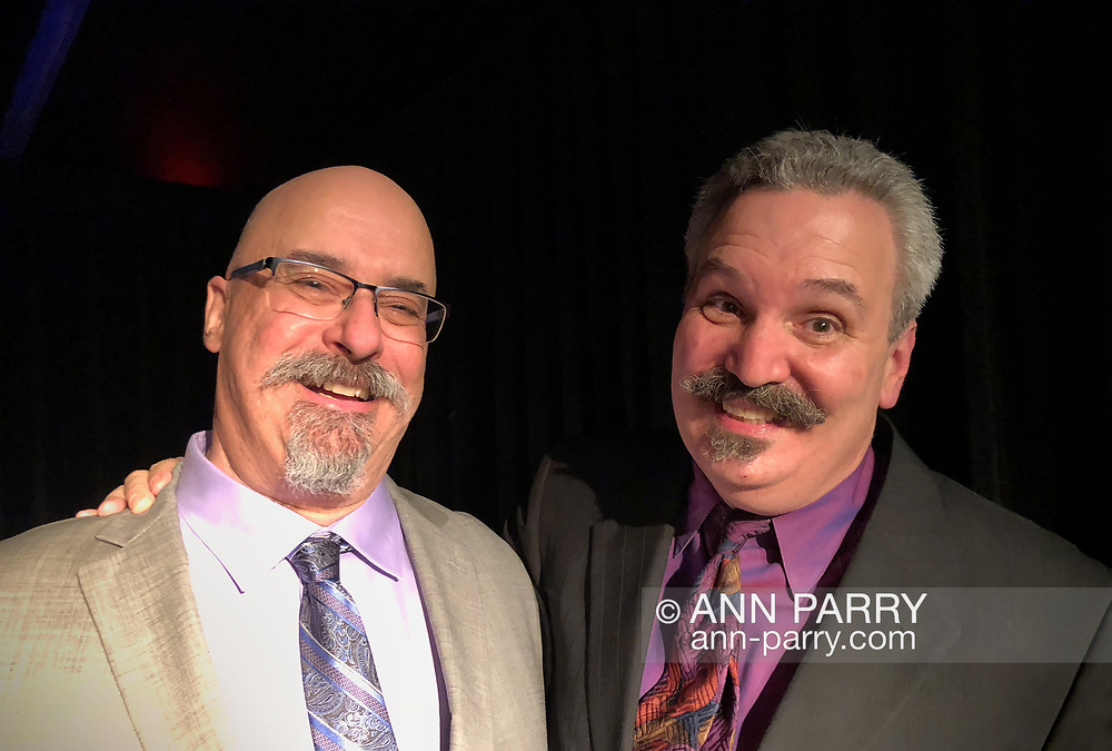 Lindenhurst, New York, USA. September 23, 2018.  L-R, Magicians JOE SILKIE and BOB YORBURG pose after performing in Comedy Magic Show presented by The Parlor of Mystery and South Shore Theatre Experience. Bob Yorburg, AKA Professor Phineas Feelgood, is a master wood carver and used unusual props in show. Joe Silkie, the Parlor of Mystery Producer, hosted show, and constructed and used custom magic props.