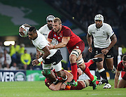 England's Captain Chris Robshaw was putting in the tackles during the Rugby World Cup Pool A match between England and Fiji at Twickenham, Richmond, United Kingdom on 18 September 2015. Photo by Matthew Redman.