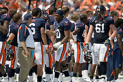 Virginia quarterback Jameel Sewell (10) ices his throwing wrist along the sidelines.  The Virginia Cavaliers defeated the Duke Blue Devils 23-14 at Scott Stadium in Charlottesville, VA on September 8, 2007  With the loss, Duke extended their longest-in-the-nation losing streak to 22 games.