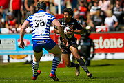 Bradford Bulls full back Oscar Thomas (14) on the attack during the Kingstone Press Championship match between Halifax RLFC and Bradford Bulls at the MBi Shay Stadium, Halifax, United Kingdom on 2 July 2017. Photo by Simon Davies.