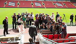 LIVERPOOL, ENGLAND - Thursday, July 1, 2010: Liverpool Football Club's new manager Roy Hodgson walks out of the Anfield tunnel to face the press. (Pic by David Rawcliffe/Propaganda)