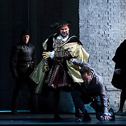 September 23, 2015 - New York, NY : Ildar Abdrazakov (as Henry VIII), center, and Stephen Costello (as Lord Richard Percy), at bottom center right, perform in a dress rehearsal for Gaetano Donizetti's 'Anne Bolena' at the Metropolitan Opera at Lincoln Center on Wednesday. CREDIT: Karsten Moran for The New York Times