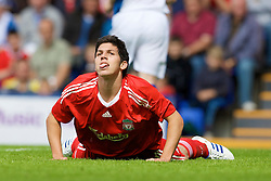 BIRKENHEAD, ENGLAND - Saturday, July 12, 2008: Liverpool's Daniel Pacheco rues a missed chance during his side's first pre-season match of the 2008/2009 season against Tranmere Rovers at Prenton Park. (Photo by David Rawcliffe/Propaganda)