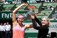 Bethanie MATTEK SANDS / Lucie SAFAROVA  - 07.06.2015 - Jour 15 - Finale Double femmes - Roland Garros 2015<br />Photo : Nolwenn Le Gouic / Icon Sport