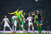 Hal Robson-Kanu of West Bromwich Albion (4) heads over the bar during the EFL Sky Bet Championship match between Leeds United and West Bromwich Albion at Elland Road, Leeds, England on 1 March 2019.