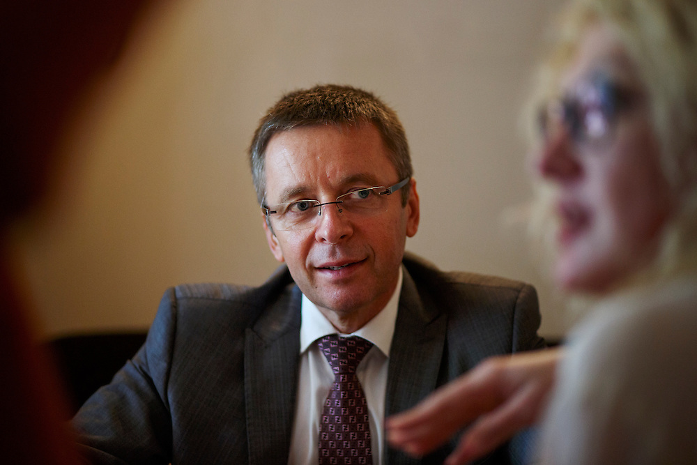 Ivan Mikloš listens to translation during an interview by a local media outlet at Gorchitsa Cafe on May 25, 2015 in Kyiv, Ukraine. Mr. Mikloš is Chief Advisor to the Minister of Finance of Ukraine and Advisor to the Minister of Economic Development and Trade of Ukraine.