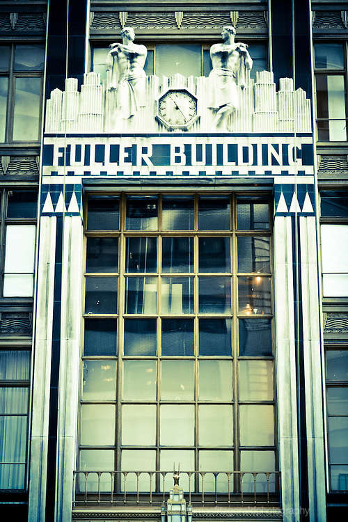 An artistic, cross process treated image of the fascade of the famous Fuller Building in New York City