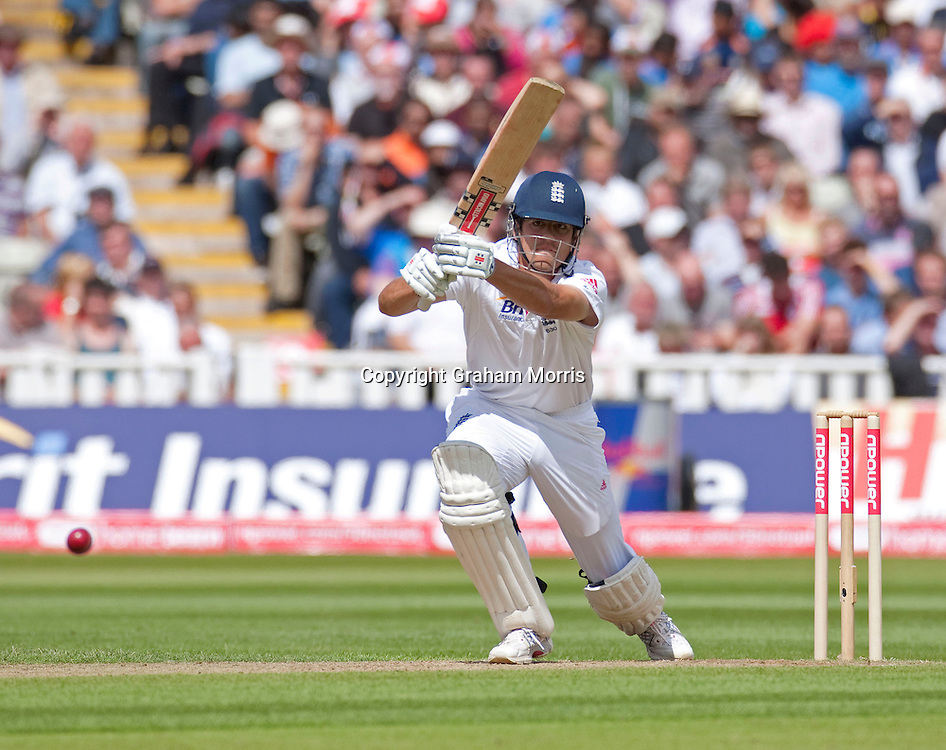 Alastair Cook bats during the third npower Test Match between England and India at Edgbaston, Birmingham.  Photo: Graham Morris (Tel: +44(0)20 8969 4192 Email: sales@cricketpix.com) 11/08/11