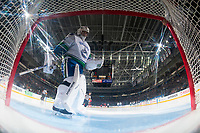 PENTICTON, CANADA - SEPTEMBER 10: Michael DiPietro #75 of Vancouver Canucks stands in net against the Calgary Flames on September 10, 2017 at the South Okanagan Event Centre in Penticton, British Columbia, Canada.  (Photo by Marissa Baecker/Shoot the Breeze)  *** Local Caption ***