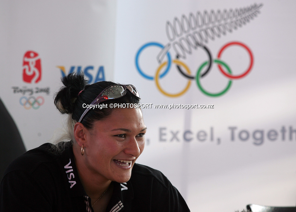 Olympic athlete Valerie Vili at a pre-games press conference for the Beijing Olympics, Mitsubishi Motors, Auckland, New Zealand, Thursday 10 July 2008. Photo: Renee McKay/PHOTOSPORT