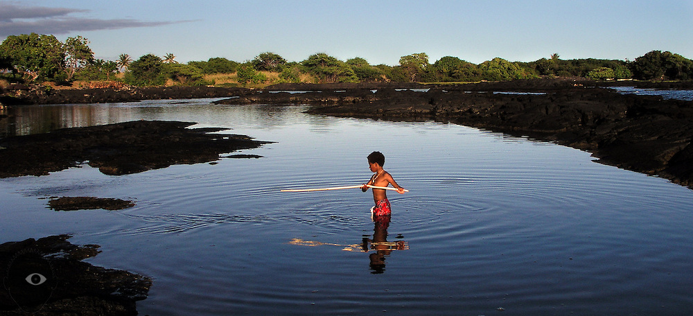 A young boy attempts to spear fish with his sharpened stick in the shallow tide pools about the Big island of Hawaii.