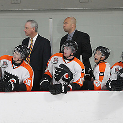 BURLINGTON, ON - SEP 9:  Justin Teakle Head Coach of the Orangeville Flyers and his Assistant Coach during the OJHL regular season game between the Orangeville Flyers and the Burlington Cougars. Orangeville Flyers and Burlington Cougars  on September 9, 2016 in Burlington, Ontario. (Photo by Tim Bates / OJHL Images)
