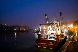 © Licensed to London News Pictures. 03/04/2014<br /> <br /> Whitby, North Yorkshire, United Kingdom<br /> <br /> Heavy fog shrouds the harbour in the North Yorkshire seaside town of Whitby. <br /> <br /> Photo credit : Ian Forsyth/LNP