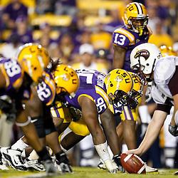 November 13, 2010; Baton Rouge, LA, USA; LSU Tigers defensive tackle Lazarius Levingston (95) lines up against the Louisiana Monroe Warhawks during the first half at Tiger Stadium. LSU defeated Louisiana-Monroe 51-0.  Mandatory Credit: Derick E. Hingle