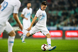 Miha Zajc of Slovenia during football match between National Teams of Slovenia and Cyprus in Final Tournament of UEFA Nations League 2019, on October 16, 2018 in SRC Stozice, Ljubljana, Slovenia. Photo by  Morgan Kristan / Sportida