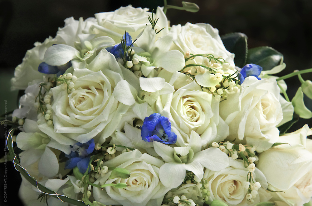 closeup of bouquet of white roses, lily of the valley flowers against black background