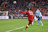 May 24, 2017: Liverpool FC player Daniel Sturridge (15) sends the ball downfield at the soccer match, between English Premiere League team Liverpool FC and Sydney FC, played at ANZ Stadium in Sydney, NSW Australia.