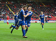 Daryl Murphy (9) of Ipswich Town celebrates after scoring the opening goal with Freddy Sears of Ipswich Town (right)   during the Sky Bet Championship match at The Valley, London<br /> Picture by Alan Stanford/Focus Images Ltd +44 7915 056117<br /> 28/11/2015