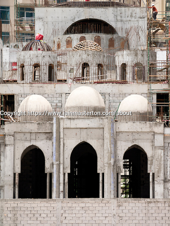 construction of new mosque in residential area of marina district of Dubai United Arab Emirates