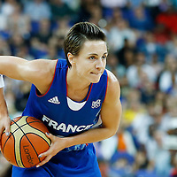 09 August 2012: France Celine Dumerc looks to pass the ball during 81-64 Team France victory over Team Russia, during the women's basketball semi-finals, at the 02 Arena, in London, Great Britain.