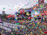 Confetti is launched as part of the Republic of China (Taiwan) National Day celebration on October 10, in front of the Presidential Palace in Taipei.<br />