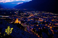 The Valais valley as seen at dusk.