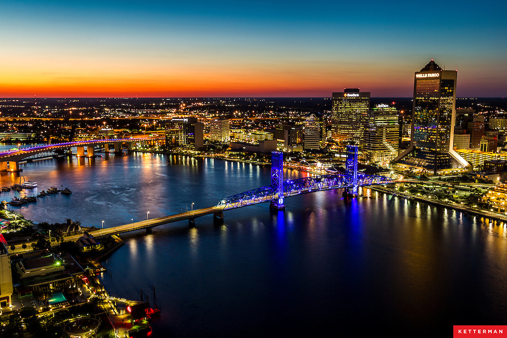 The Jacksonville Florida Skyline seen from the south bank.
