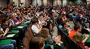 Spelling bee participants and audience members clap to congratulate everyone for participating in the Southeastern Ohio Regional Spelling Bee champion Saturday, March 16, 2013. The Regional Spelling Bee was sponsored by Ohio University's Scripps College of Communication and held in Margaret M. Walter Hall on OU's main campus.