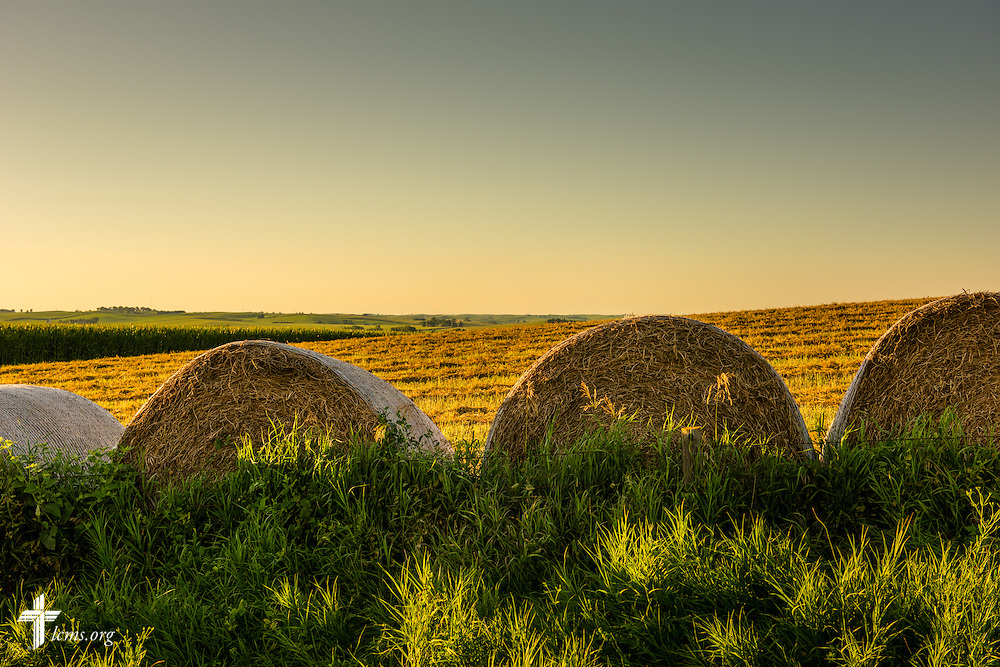 Baled hay near Mission Central on Saturday, July 18, 2015, in Mapleton, Iowa. LCMS Communications/Erik M. Lunsford